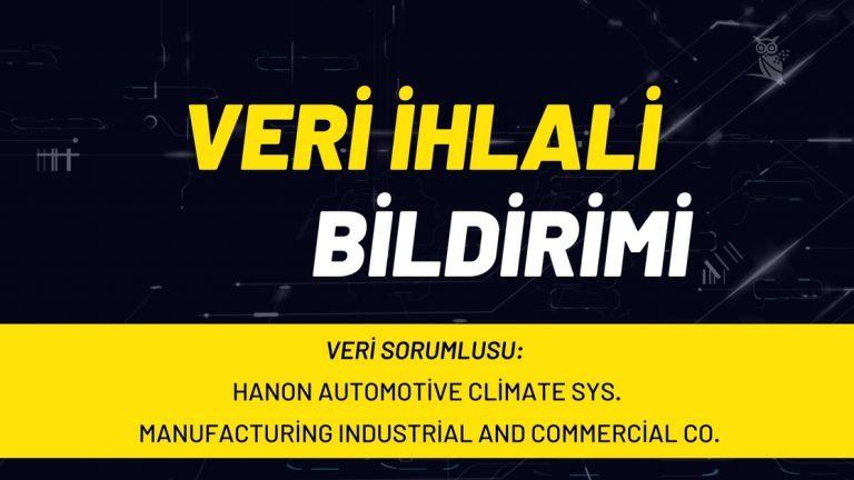 Hanon Automotive Veri İhlali Bildirimi
